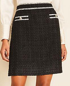앤테일러 Ann Taylor Tweed Button Pocket Skirt,Black