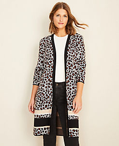 앤테일러 Ann Taylor Animal Print Colorblock Open Cardigan,Winter White