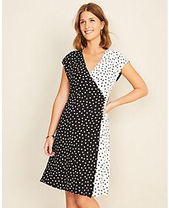 앤테일러 Ann Taylor Mixed Dot Wrap Dress,Black Multi