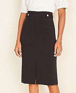 앤테일러 Ann Taylor Button Tab Front Slit Pencil Skirt,Black