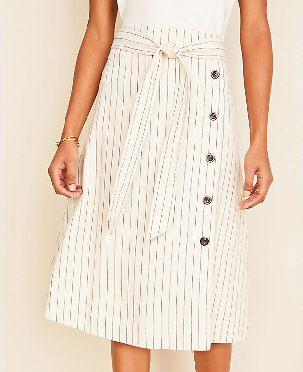 앤테일러 스커트 Ann Taylor Striped Button Trim Tie Waist Midi Skirt,Ivory Multi