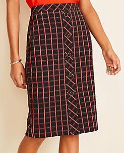앤테일러 Ann Taylor Curvy Tweed Button Trim Pencil Skirt,Black