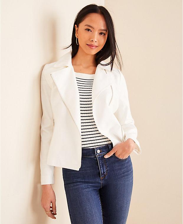 앤테일러 Ann Taylor Linen Blend Moto Jacket,Winter White