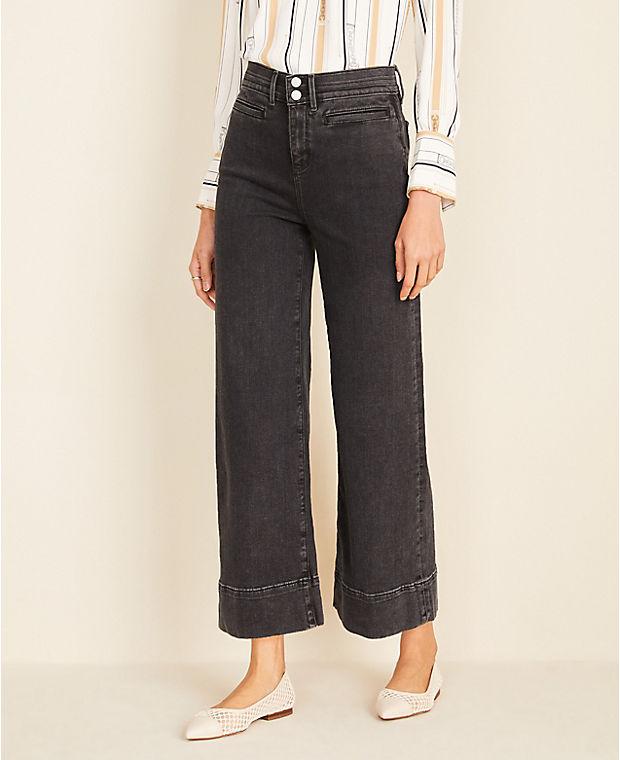 앤테일러 Ann Taylor Wide Leg Crop Jeans in Washed Black,Washed Black Wash
