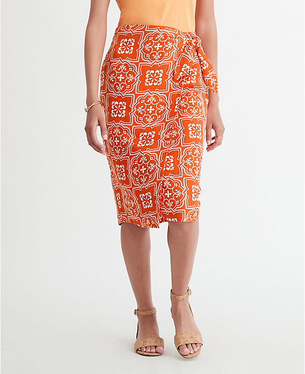 앤테일러 펜슬 스커트 Ann Taylor Tiled Sarong Pencil Skirt,Jupiter Orange