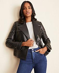앤테일러 Ann Taylor Faux Leather Short Trench Coat,Black