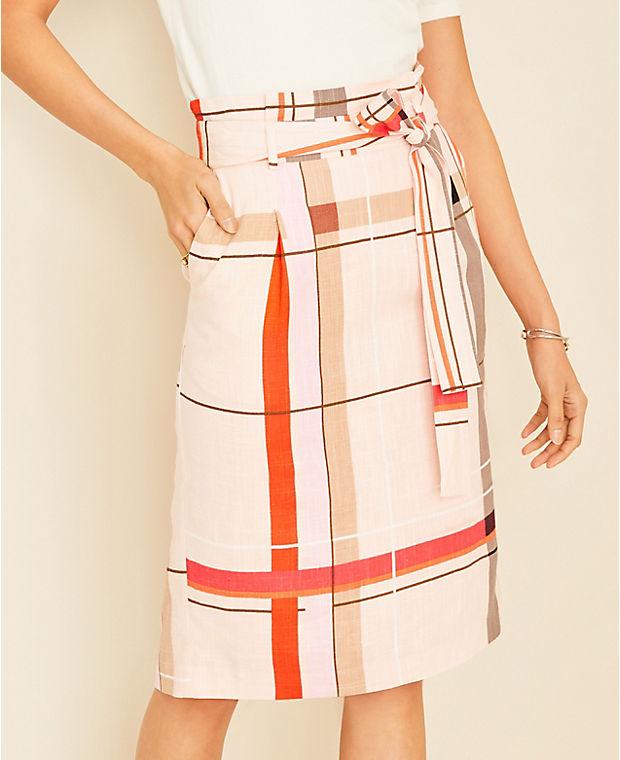 앤테일러 Ann Taylor Plaid Tie Waist Pencil Skirt,Soft Seashell