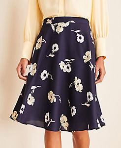 앤테일러 Ann Taylor Sunny Poppy Full Skirt,Night Sky