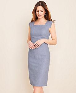 앤테일러 Ann Taylor The Square Neck Cap Sleeve Sheath Dress in Linen Twill,Summer Sky Blue