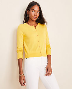 앤테일러 Ann Taylor Cropped Ann Cardigan,Bright Sunflower