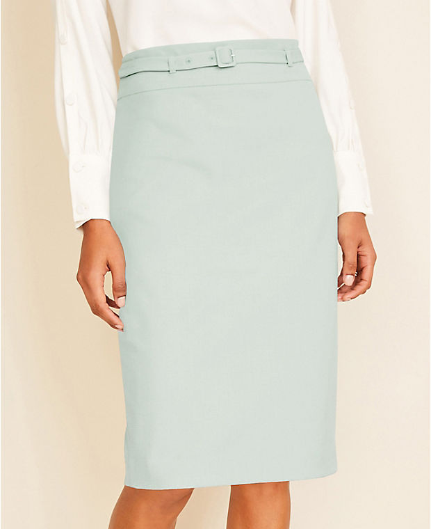 앤테일러 펜슬 스커트 Ann Taylor The Belted Pencil Skirt in End On End,Pastel Teal