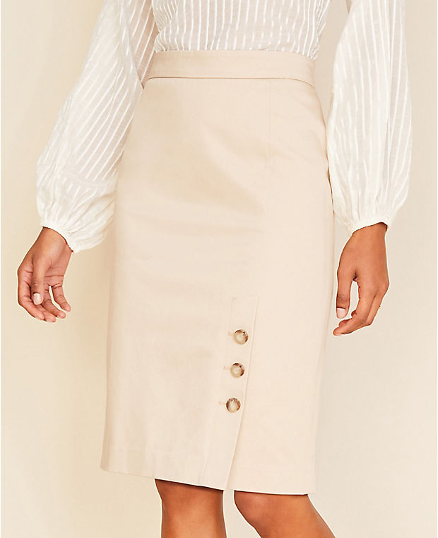 앤테일러 스커트 Ann Taylor The Buttoned Pencil Skirt in Cotton Sateen