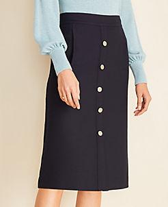 앤테일러 Ann Taylor Button Front Skirt,Atlantic Navy