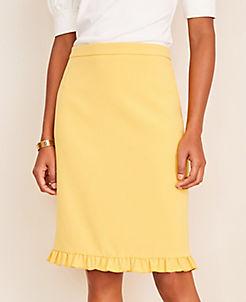 앤테일러 Ann Taylor Doubleweave Ruffle Hem Pencil Skirt - Curvy Fit,Bright Sunflower