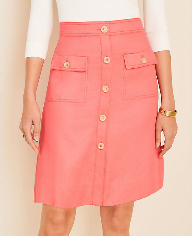 앤테일러 스커트 Ann Taylor Button Pocket Skirt,Desert Blossom