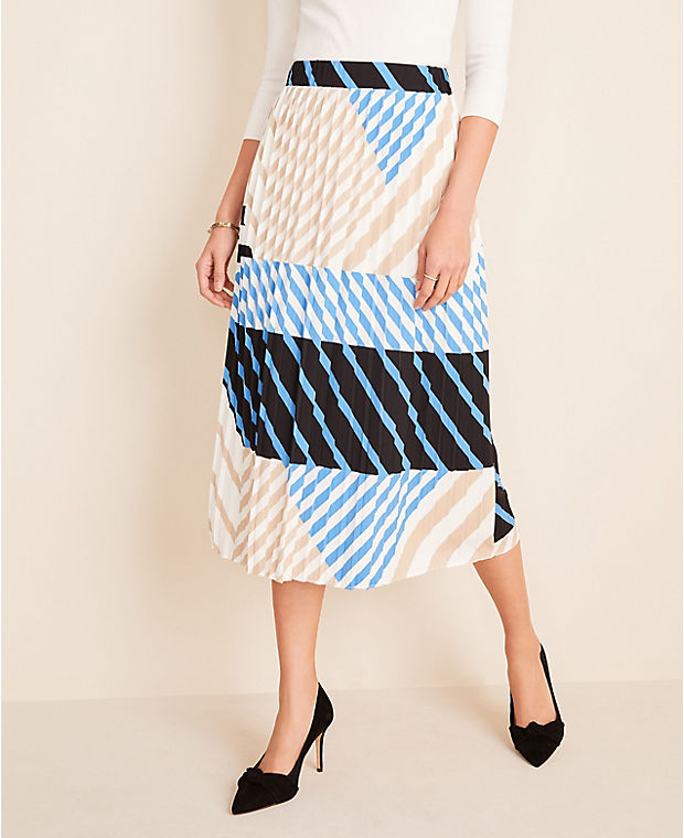 앤테일러 Ann Taylor Stripe Pleated Skirt,Blue Azalea