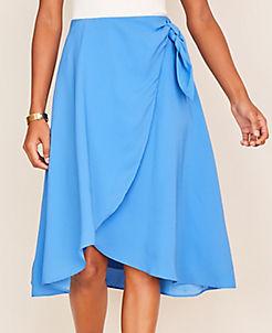 앤테일러 Ann Taylor Tie Waist Wrap Skirt,Blue Azalea