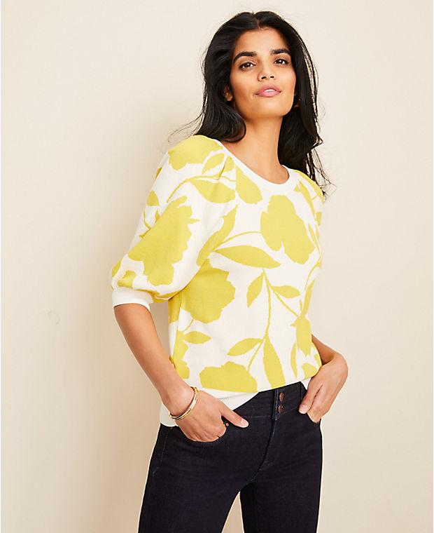 앤테일러 Ann Taylor Floral Jacquard Puff Sleeve Sweater,Daffodil