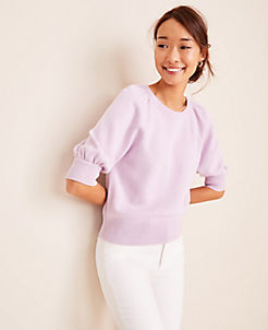 앤테일러 Ann Taylor Puff Sleeve Sweater,Dreamy Lilac