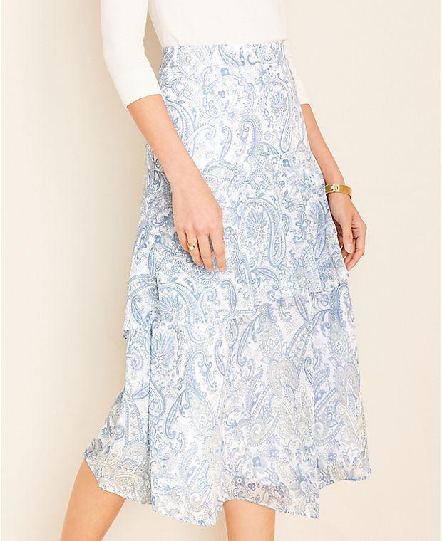앤테일러 Ann Taylor Paisley Tiered Flounce Skirt,Blue Mist