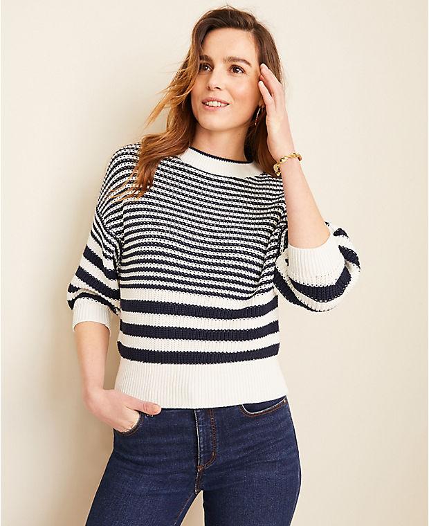 앤테일러 Ann Taylor Mixed Stripe Puff Sleeve Sweater,Winter White