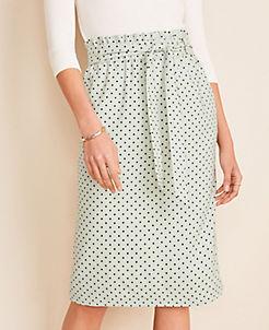 앤테일러 Ann Taylor Polka Dot Tie Waist Pencil Skirt,Pale Aqua