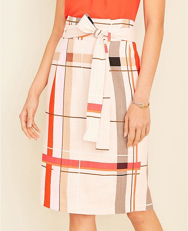 앤테일러 Ann Taylor Plaid Tie Waist Pencil Skirt - Curvy Fit,Soft Seashell