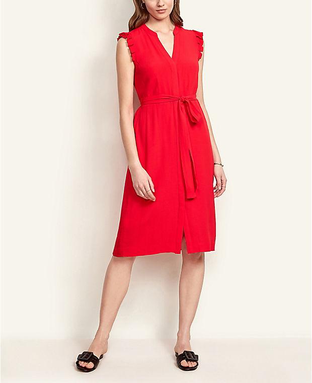 앤테일러 셔츠 원피스 Ann Taylor Flutter Sleeve Shirtdress,Electric Cherry