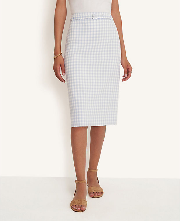 앤테일러 펜슬 스커트 Ann Taylor Gingham Belted Pencil Skirt,Winter White