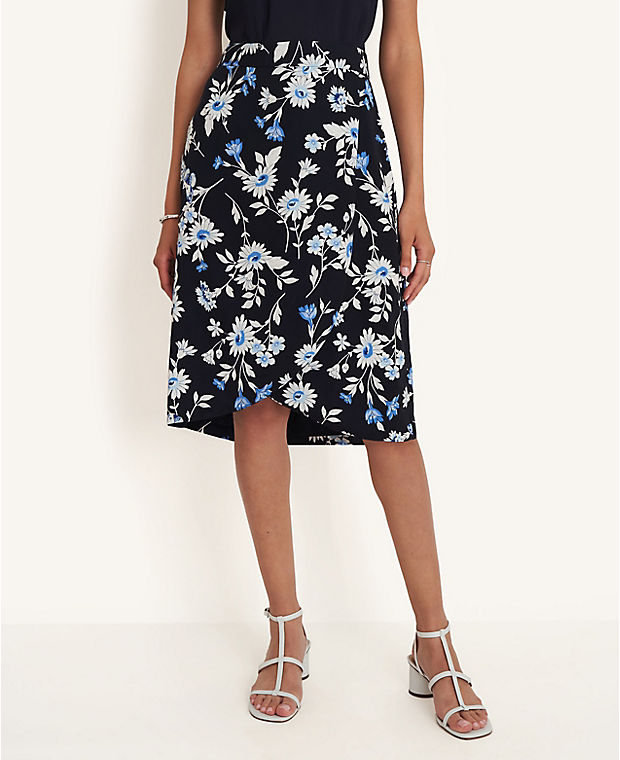 앤테일러 펜슬 스커트 Ann Taylor Floral Tulip Wrap Pencil Skirt,Night Sky