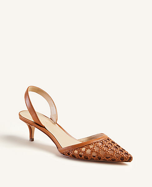 Kinley Mesh Leather Slingback Pumps