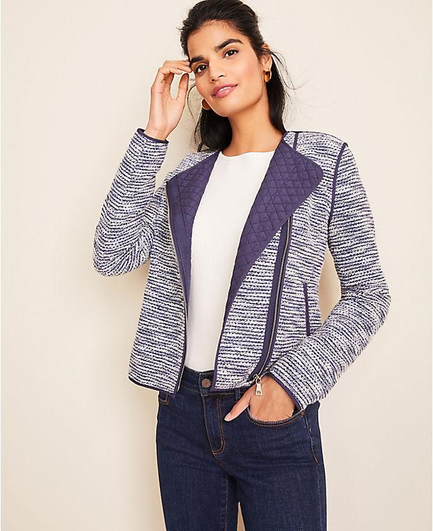 앤테일러 Ann Taylor Quilted Tweed Moto Jacket,Blue Multi
