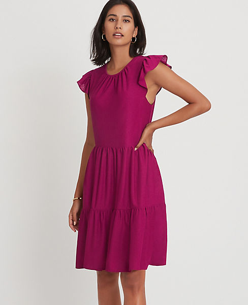 Petite Flutter Sleeve Shift Dress