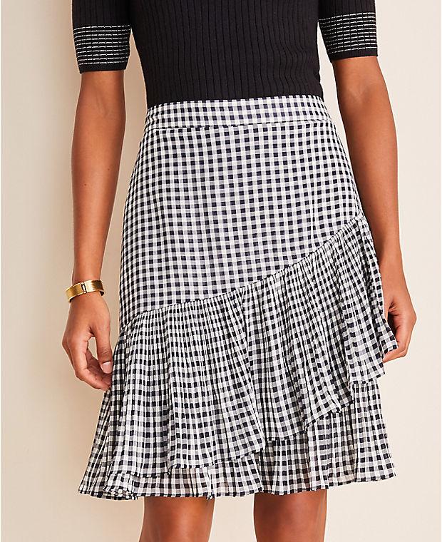 앤테일러 Ann Taylor Gingham Pleated Flounce Skirt,Night Sky