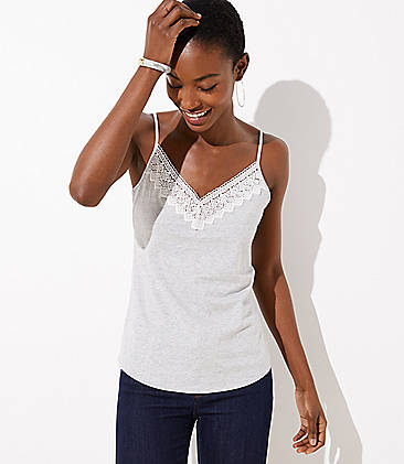 로프트 LOFT Diamond Lace Clean Cami,Warm Grey Heather