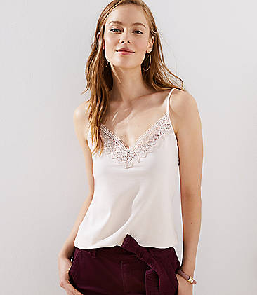 로프트 LOFT Diamond Lace Clean Cami,Blush Frost
