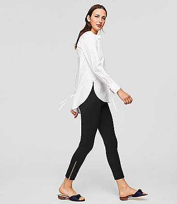 로프트 LOFT Leggings in Ankle Zip Bi-Stretch,Black