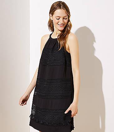 로프트 LOFT Tasseled Halter Swing Dress,Black
