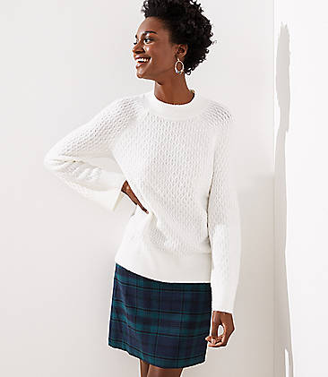 로프트 LOFT Stitchy Flare Sleeve Sweater,Whisper White
