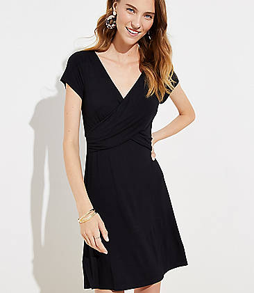 로프트 LOFT Criss Cross Wrap Dress,Black