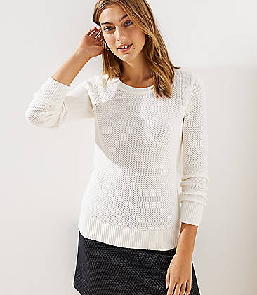 로프트 LOFT Cable Knit Trim Stitchy Sweater,Whisper White