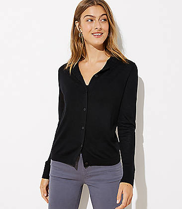 로프트 LOFT Double Button Collar Signature Cardigan,Black