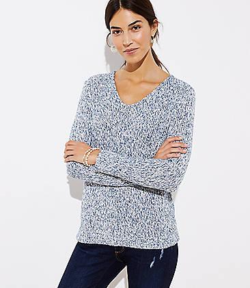 로프트 LOFT Marled V-Neck Sweater
