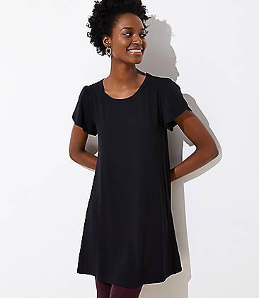 로프트 LOFT Tulip Sleeve Swing Dress,Black