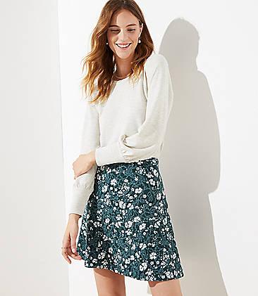 로프트 LOFT Floral Pull On Flippy Skirt,Woodsy Green