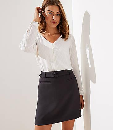 로프트 LOFT Belted Skirt,Coal Grey