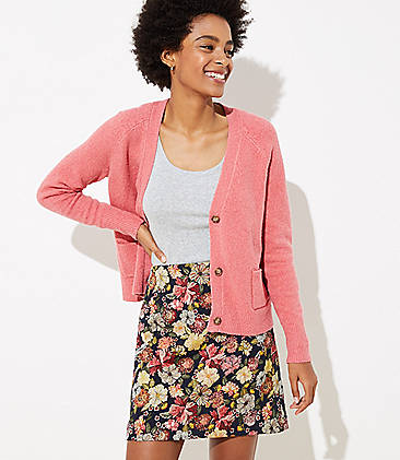 로프트 LOFT Floral Jacquard Shift Skirt,Forever Navy