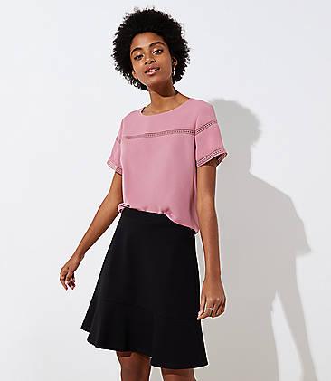 로프트 LOFT Ponte Flippy Skirt,Black
