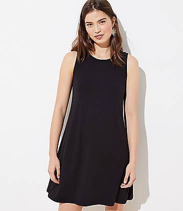 로프트 LOFT Sleeveless Swing Dress,Black