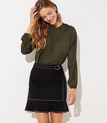 로프트 LOFT Tie Waist Ponte Flippy Skirt,Black